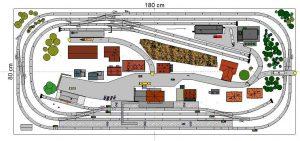 Spielbahn Spur N 80cm x 180cm Gleisplan