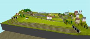 Minitrix Gleisplan 200 x 100 - 3D Ansicht