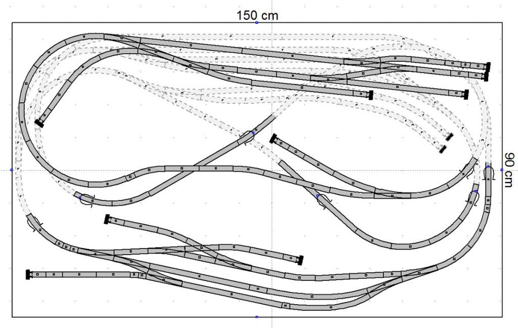 Gleisplan Minitrix Spur N Gesamtansicht 150cm x 90cm